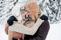 Austria, Salzburg County, Couple embracing each other, smiling