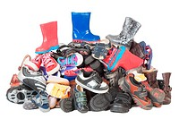 Pile of child shoes , Isolated