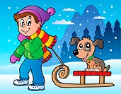Winter scene with boy and sledge _ picture illustration.