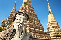 Thailand - Bangkok, Wat Phra Kaeo Temple, Grand Palace, stone statue