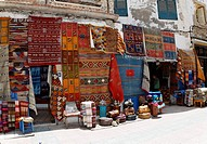 Carpet shop at the market, souk in the medina, historic district of Essaouira, region of Marrakech_Tensift_Al Haouz, Morocco, Maghreb, Africa