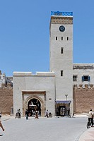 Clock tower on the ramparts of Essaouira, Marrakech-Tensift-El Haouz, Morocco, North Africa, Africa