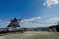 The Metronome, a 23 m high, functional metronome, overlooking the river Vltava and the city center of Prague, Czech Republic, Europe