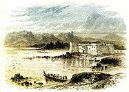 Historical drawing, US_American history, 18th century, view of Fort Chambly, a historic fortress, La Vallée_du_Richelieu Regional County Municipality,...