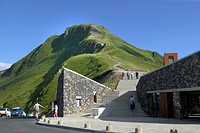 Puy-Mary House, Pas-de-Peyrol, Cantal mountains, Parc Naturel Regional des Volcans d'Auvergne, Auvergne Volcanoes Regional Nature Park, Cantal, France...