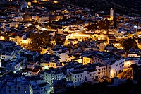 View of Chefchaouen or Chaouen at night, Tanger-Tétouan, Morocco, Maghreb, North Africa, Africa