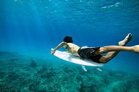 surfer paddling shot underwater