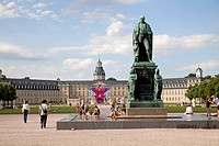 Karl Friedrichs von Baden monument in front of Karlsruhe Palace, Karlsruhe, Baden-Wuerttemberg, Germany, Europe