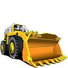 Detailed vectorial image of large dozer isolated on white background