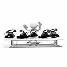 Anthropomorphic figure at table with five telephones, CGI