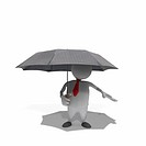Anthropomorphic businessman holding umbrella, CGI