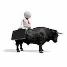 Anthropomorphic businessman riding on bull, CGI
