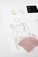 Fashion draft and fabric swatch