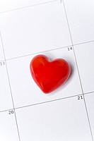 Red heart on a calendar