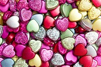 Multi_colored chocolate hearts