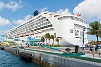Norwegian Spirit cruise ship at dock in Nassau, Bahamas