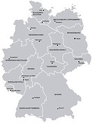 Vectorial map of Germany with provinces. No gradients and blends. Every province is separate curve. Names of provinces and cities are in separate laye...