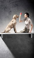 Woman and Dog Playing with Red Ball