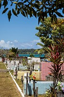 Colorful municipal cemetary on Isla Colon, Bocas del Toro, Panama