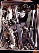 Spoons, forks and knives gathered in a tray