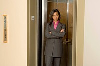 Businesswoman in Elevator