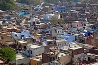 View over houses of the village Barsana / Varsana, Uttar Pradesh, India