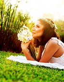 Happy bride on the grass