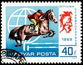 HUNGARY _ CIRCA 1969: A stamp printed in Hungary shows horse jumping show