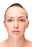 woman´s face, beauty concept, power of make_up