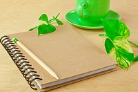 recycle notebook and wooden pencil