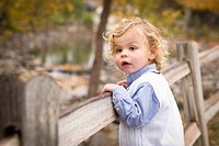 Adorable Young Boy Playing Outside