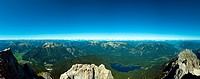 Panoramic View Zugspitze German Austrian Boarder