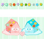 Vector, toy small houses _ friends, girl and boy