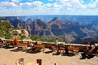 Tourists at the terrace of a lodge, Grand Canyon Lodge, Bright Angel Point, North Rim, Grand Canyon National Park, Arizona, USA