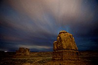 USA, Utah, Arches National Park, Courthouse wash at night