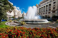Fountain in Plaza del Ayuntamiento, Valencia, Spain