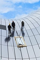 Workmen on roof of The Sage concert hall in Gateshead, Tyne &amp; Wear, England, United Kingdom