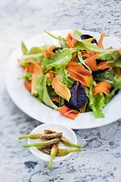Daylily flower salad with marinated buds