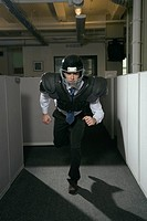 Businessman Wearing Football Pads