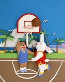 Animals are playing basketball