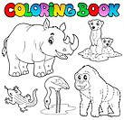 Coloring book zoo animals set 1 _ picture illustration.