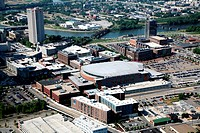 Aerial view of Nationwide Arena in the Arena District with the Scioto River, Columbus, Ohio, USA