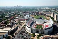 Aerial view of Ohio Stadium on the Ohio State University Campus, Columbus, Ohio, USA