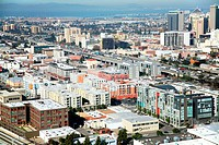 Aerial view of a city, Jack London District, Oakland Inner Harbor, Oakland, California, USA