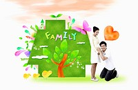 A happy couple with green family house