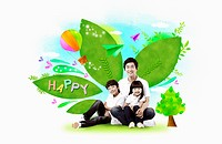 A family with green happy leaves