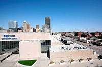 COX Convention Center with Oklahoma City skyline and Bricktown in background, Oklahoma, USA