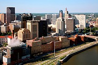 Aerial view of buildings in a downtown district at the waterfront, St. Paul, Mississippi River, Minnesota, USA
