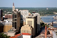 Aerial view of buildings in a downtown district, St. Paul, Mississippi River, Minnesota, USA