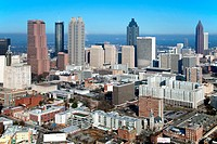 Aerial view of the skyline in Downtown Atlanta, Atlanta, Georgia, USA
